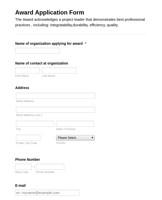 Award Application Form