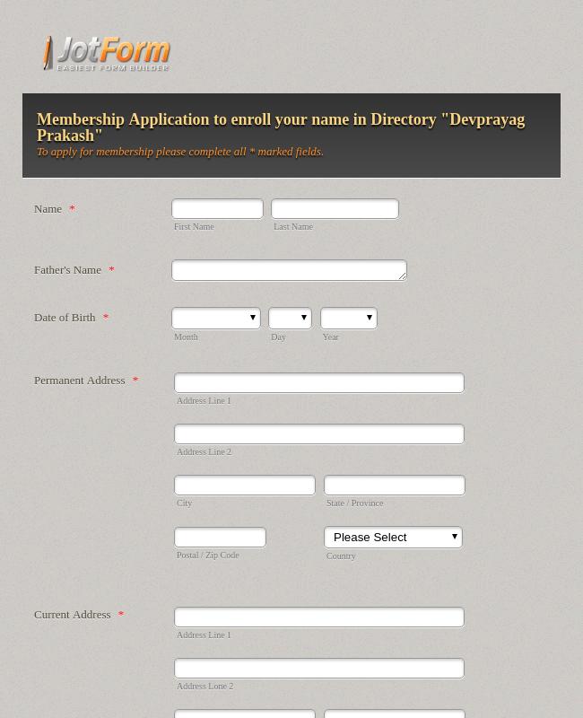 Membership/Enroll Application Form