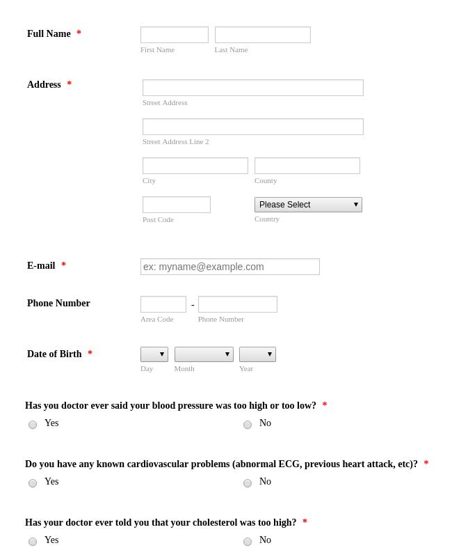 Medical Questionnaire
