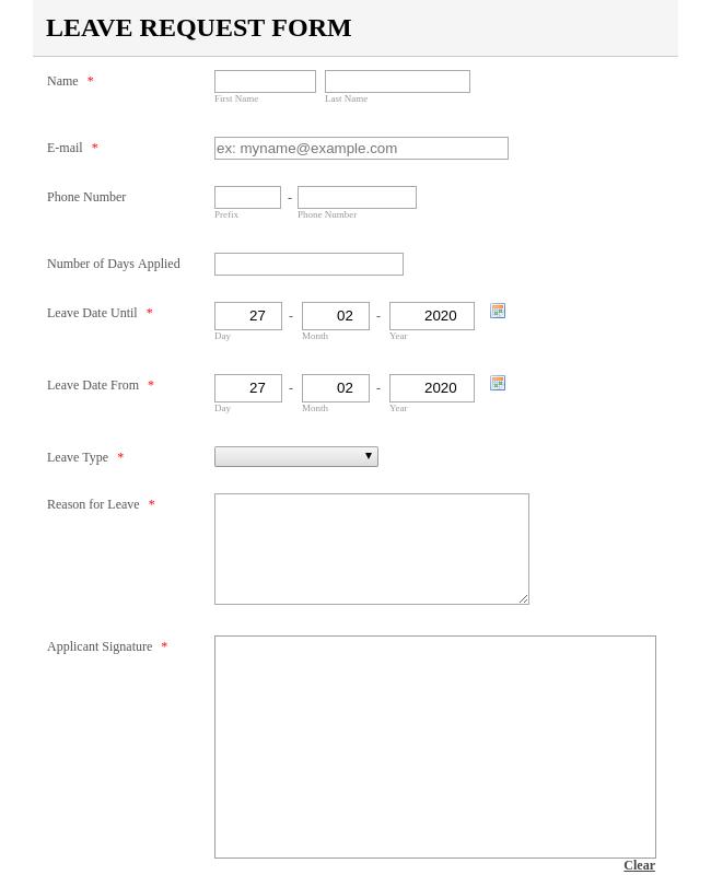 Lave Request Form