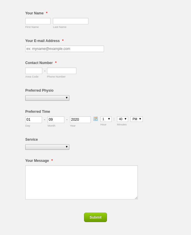 Health & Fitness Contact Form