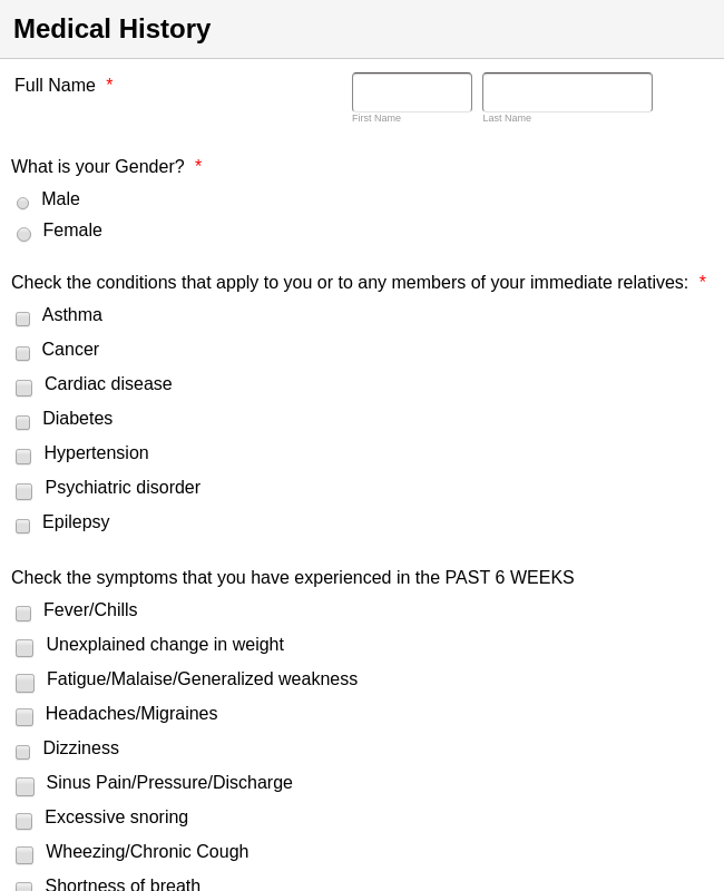 Initial Visit Patient Forms (MDR)