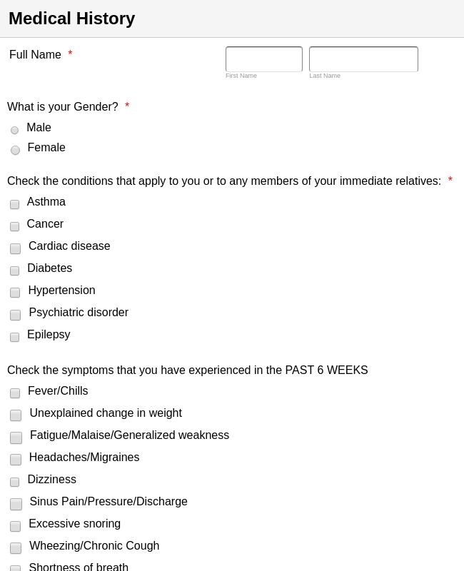 Initial Visit Patient Forms (MDR)