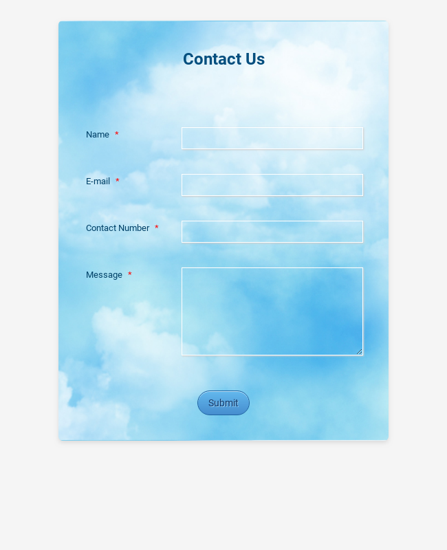 Contact Form With Sky Theme