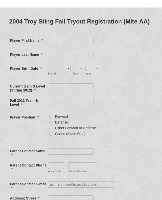 Sport's Registration Form