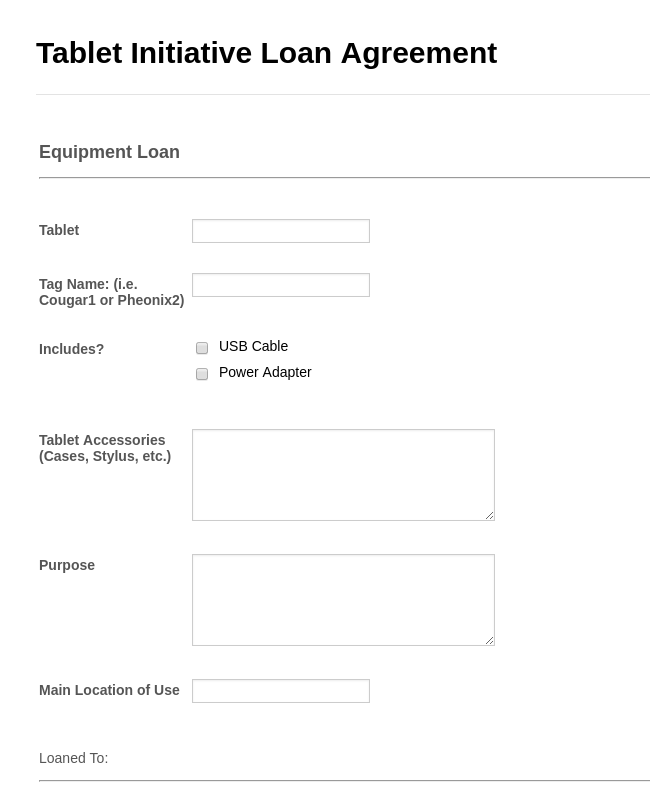 Equipment Loan Form Template Jotform