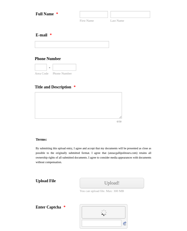 Entry Upload Form