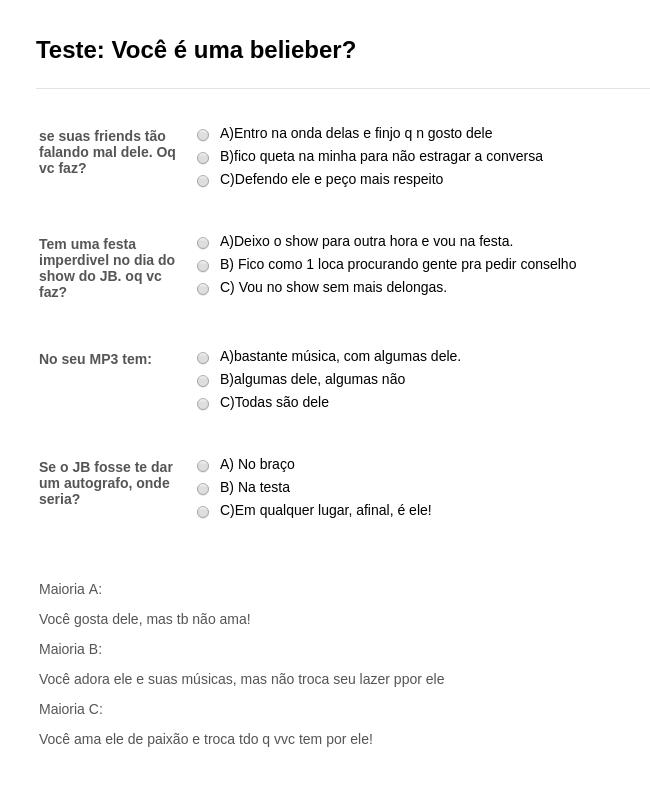 Portuguese Questionaire