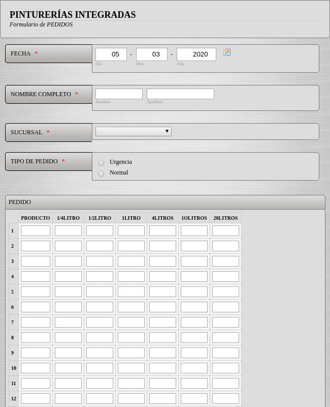 Paint Order Form - Spanish