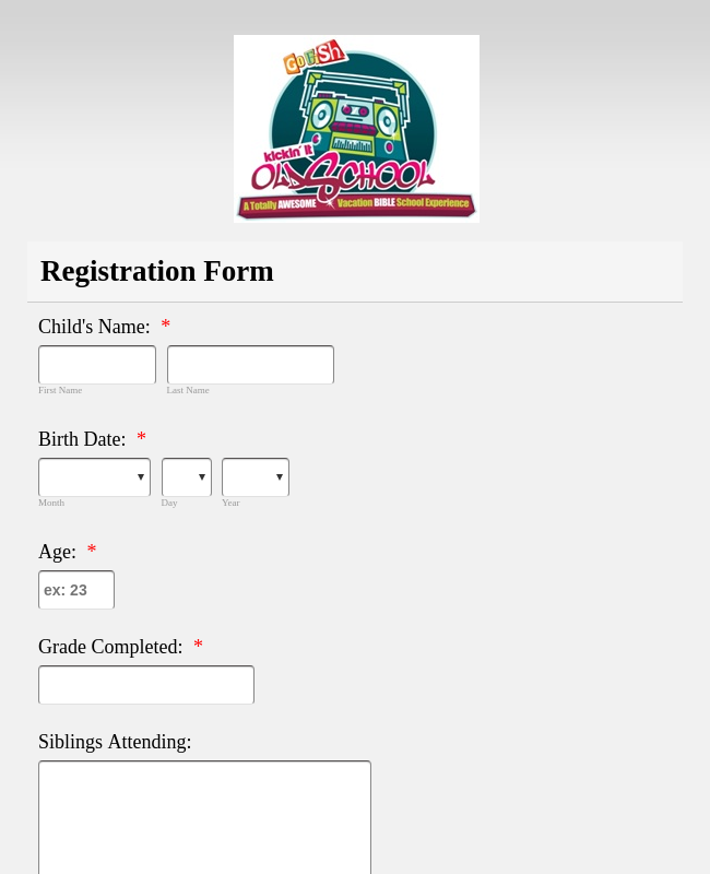 vacation bible school registration form template jotform. Black Bedroom Furniture Sets. Home Design Ideas