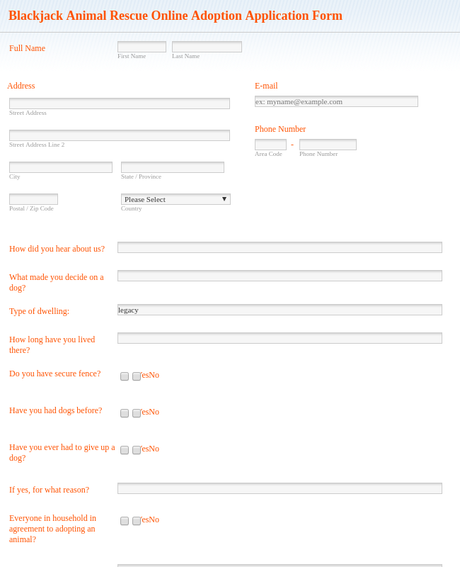Blackjack Animal Rescue  Online Application Form