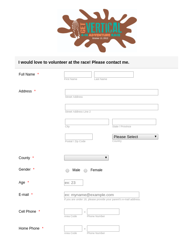 Volunteer Form for Race Event