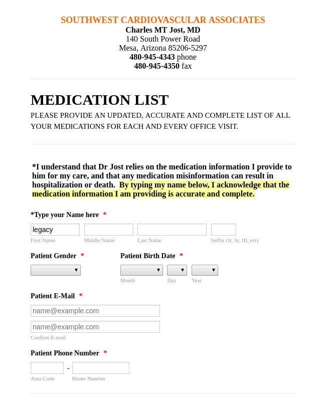 Medication List Form Template Jotform