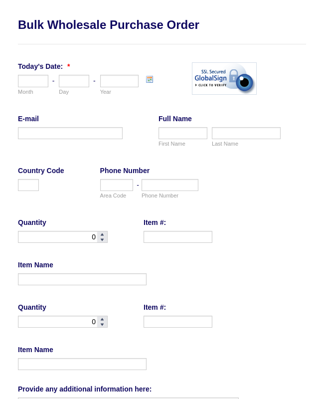 Wholesale Purchase Order Form
