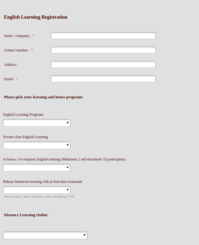 Registration Form English Learning Programs