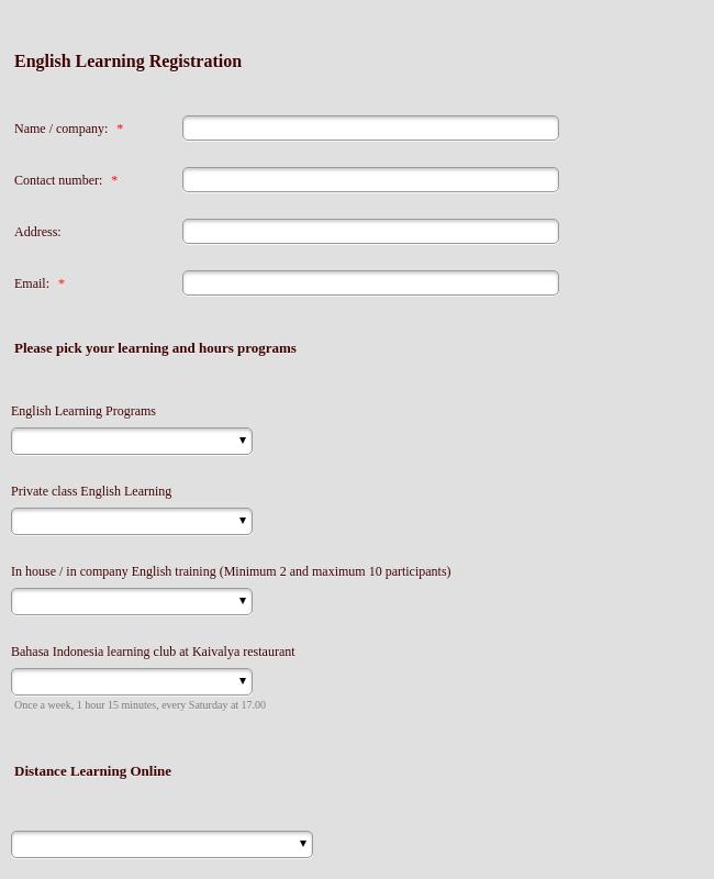 Registration Form English Learning Programs