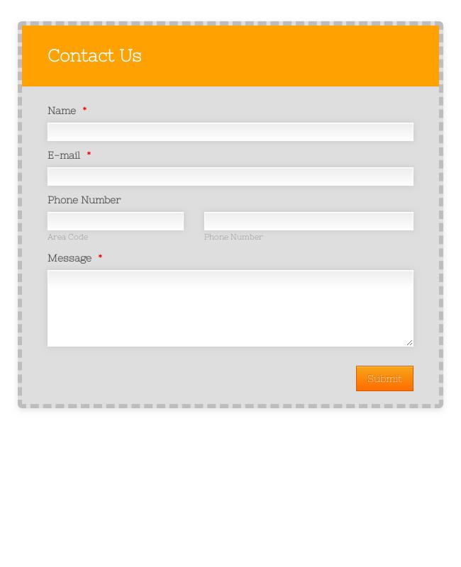 Contact Form With Orange Envelope Theme