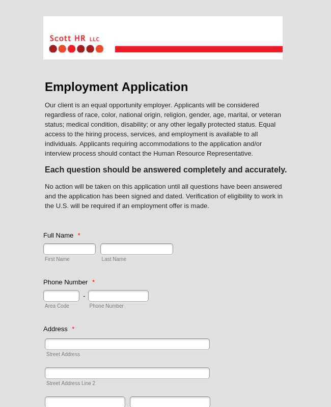 Employment Application Hr Complete