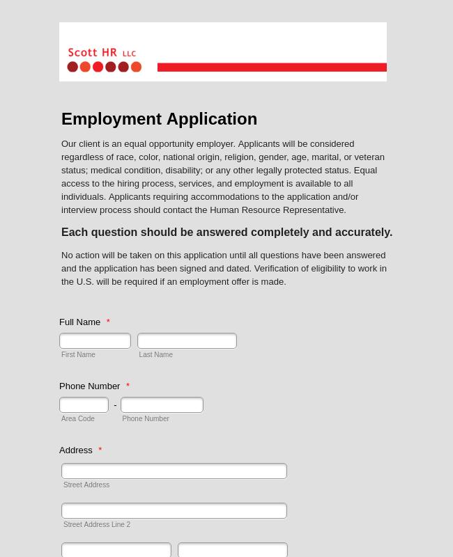 Employment Application - HR Complete