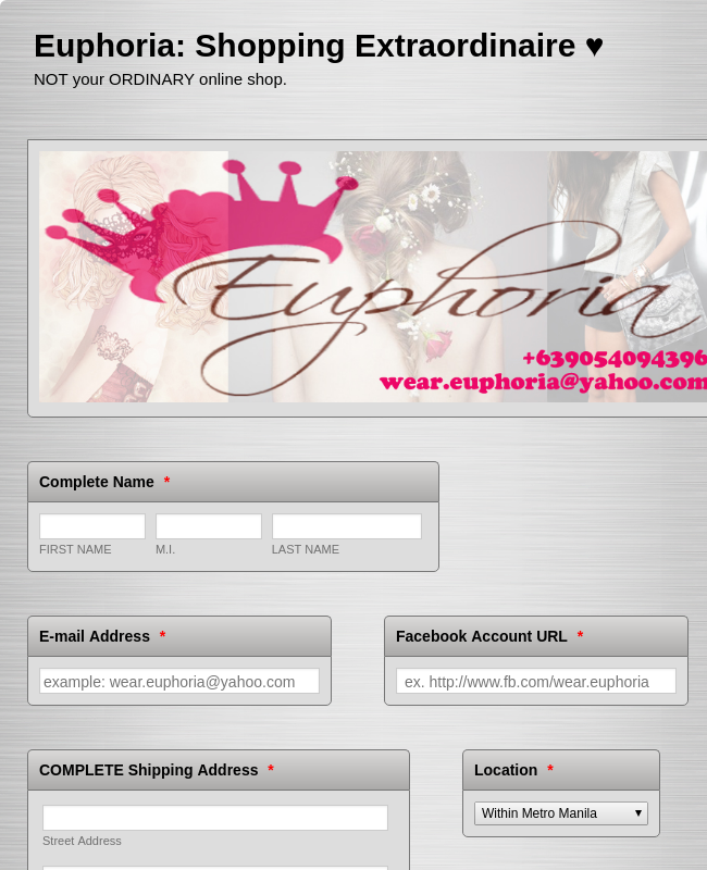 Online Shopping Form