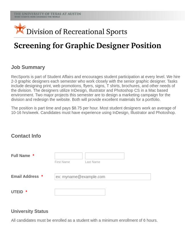 Graphic Design Job Application Form