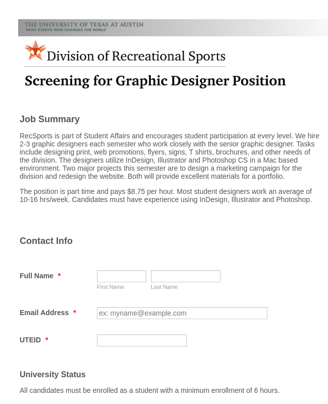 Graphic Design Job Application Form