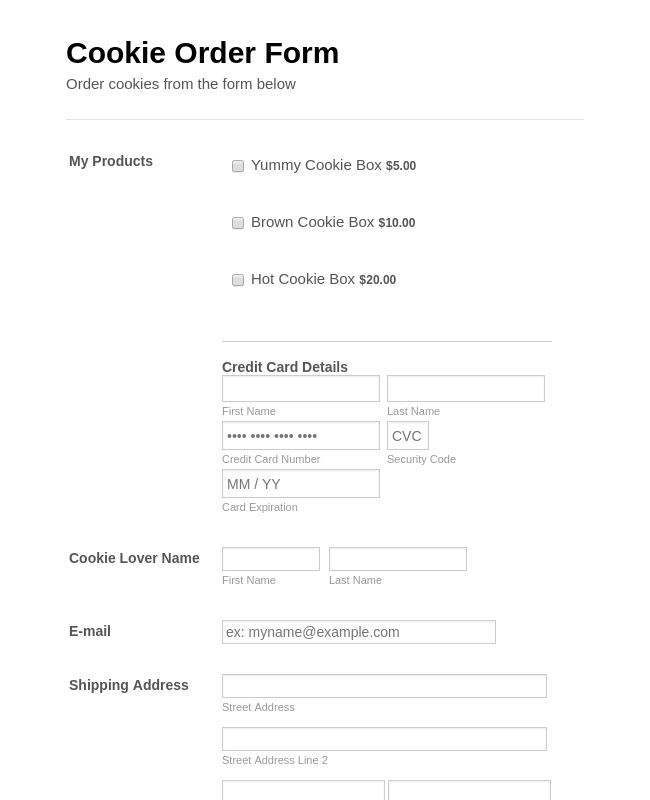 Stripe Example: Cookie Order Form