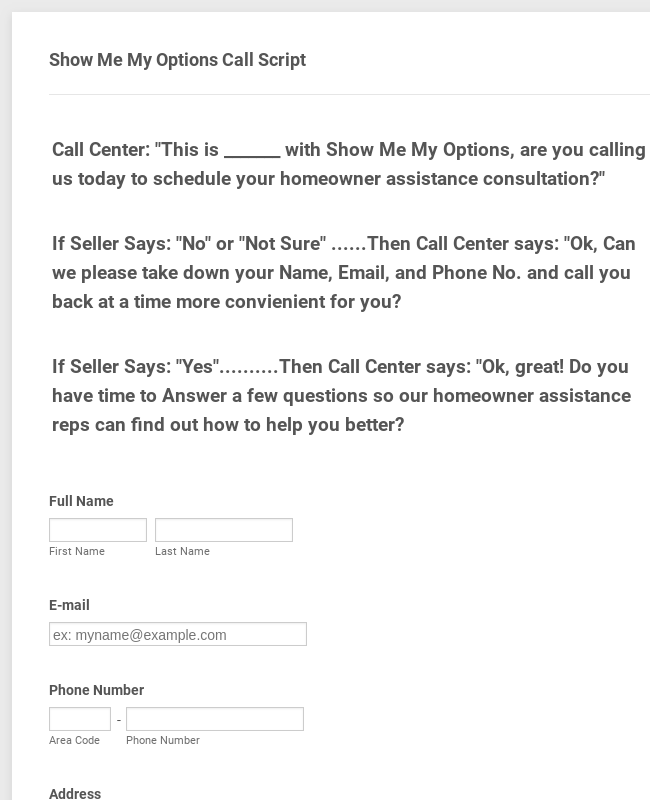 Call Center Form