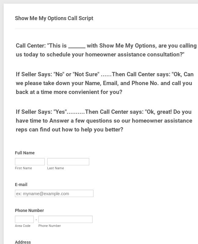 Call Center Form