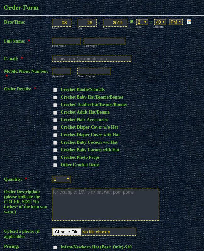 Crochet Order Form