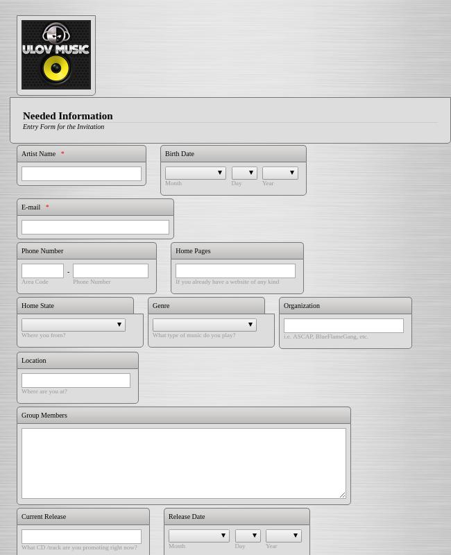 Feature Artist Registration Form
