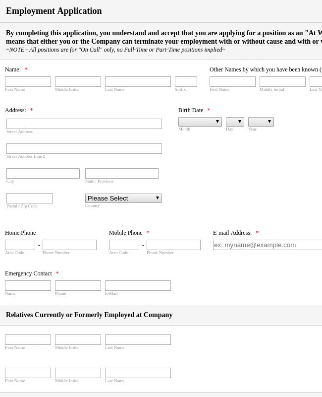Employment Application Form