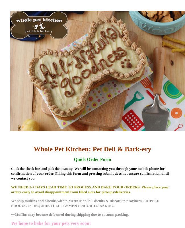 Bakery Facebook Order Form