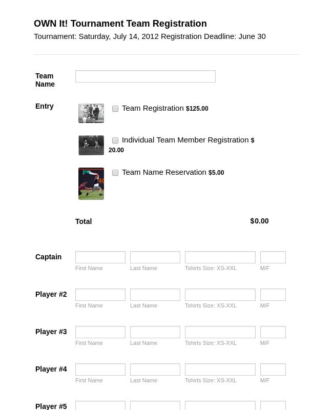 Tournament Registration Form 2