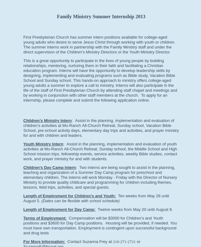 Summer Intern Application 2013
