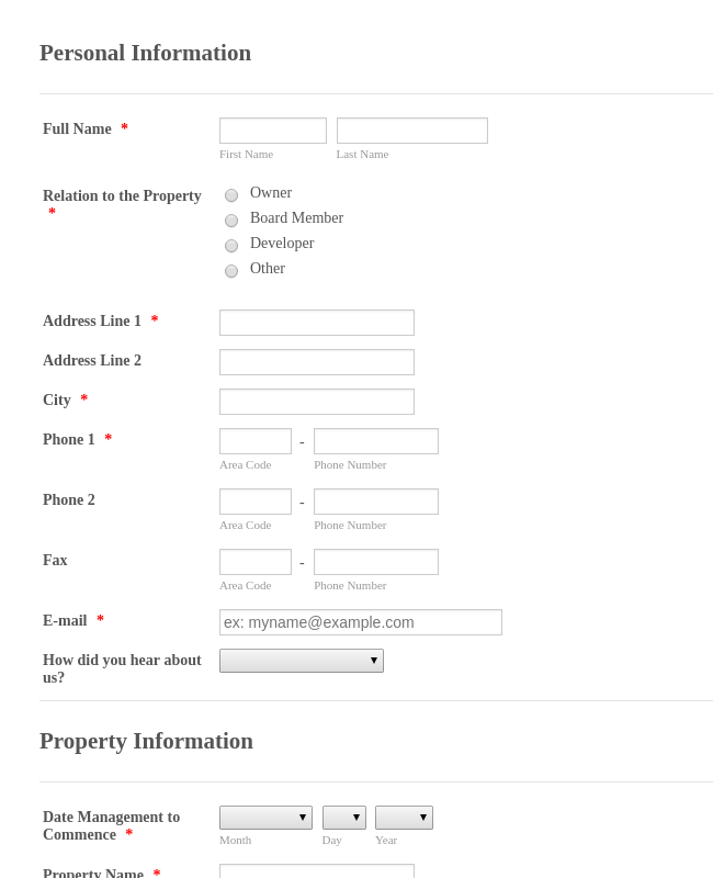 Property Information Form