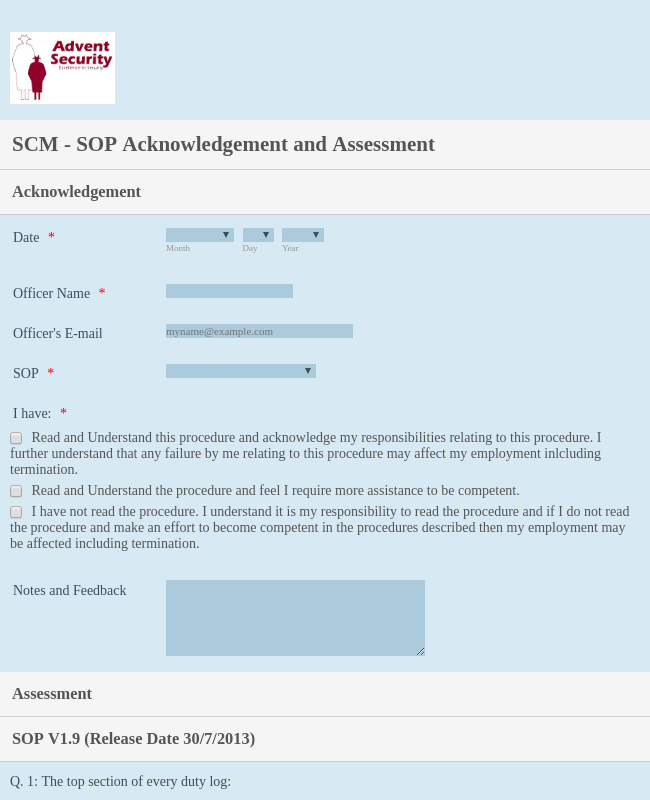 SOP Acknowledgement Form