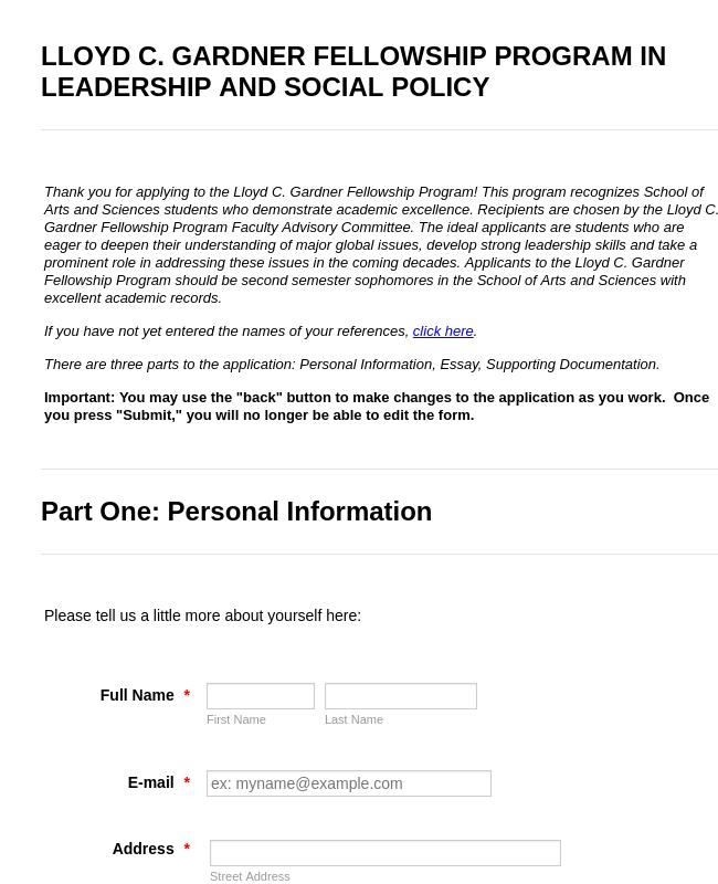 Fellowship Program Application Form