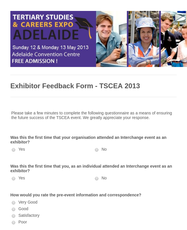 Exhibitor Survey Form Template | JotForm