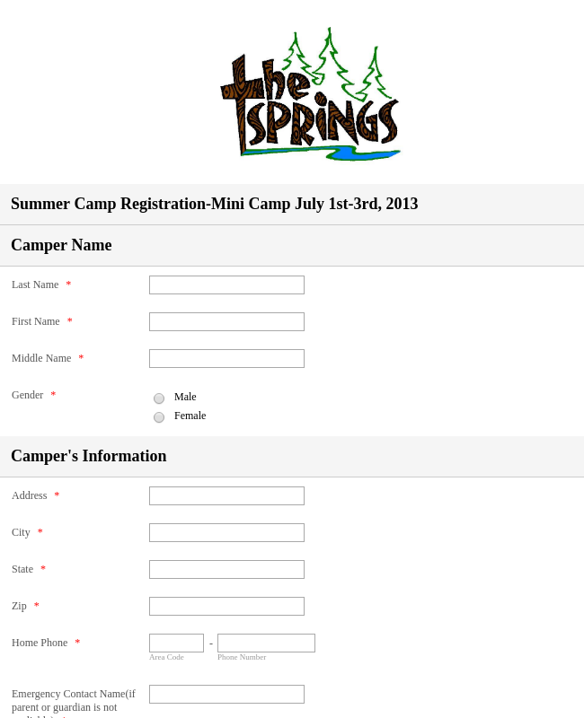 Mini Camp Registration Form