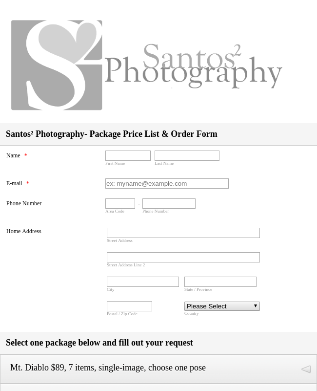 Photography Order Form
