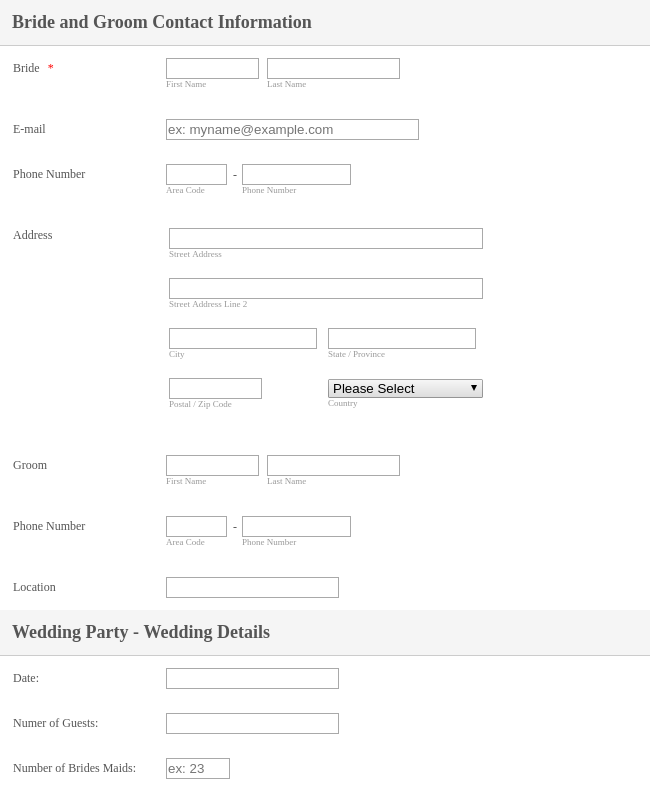 Wedding Day Photography Planner Form