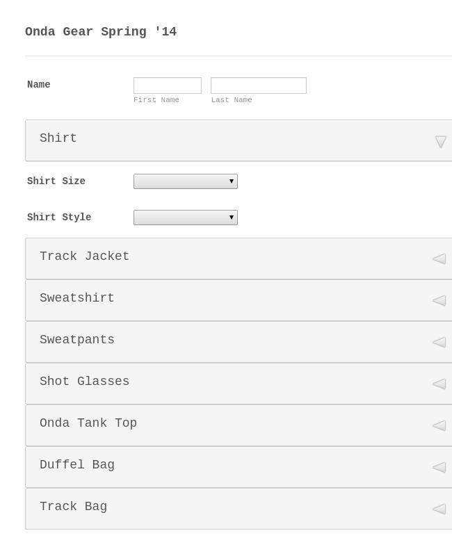 Online Clothes order form