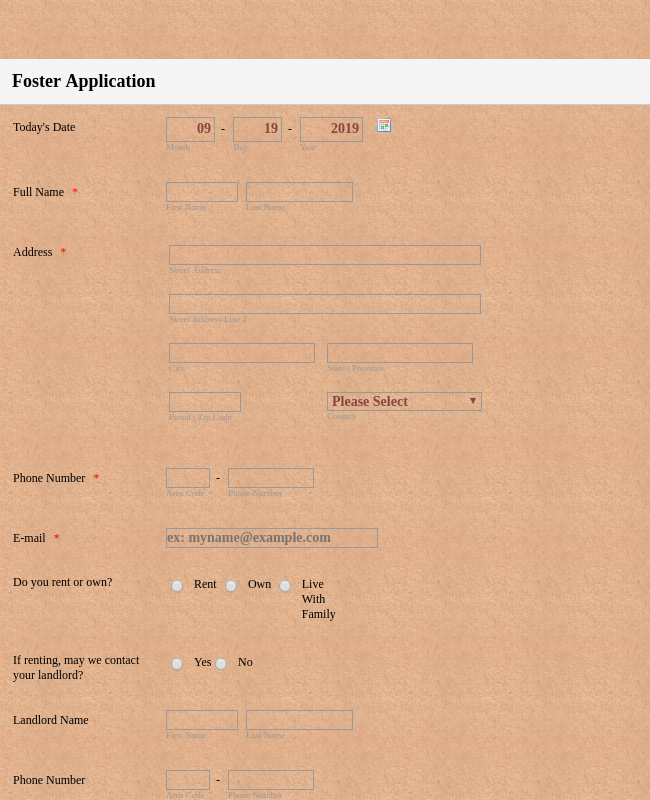 CBCRI Foster Application