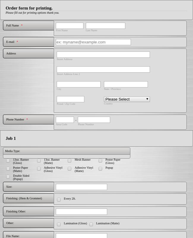 Printing Order Form