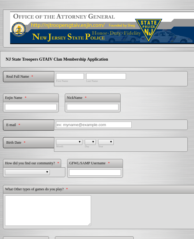 Clan Membership Application Form