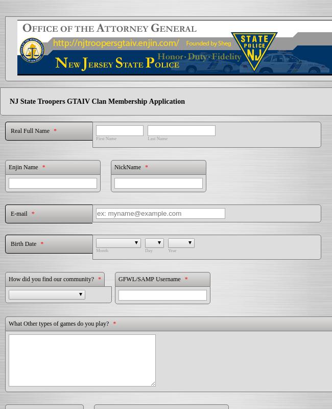 Clan Membership Application Form