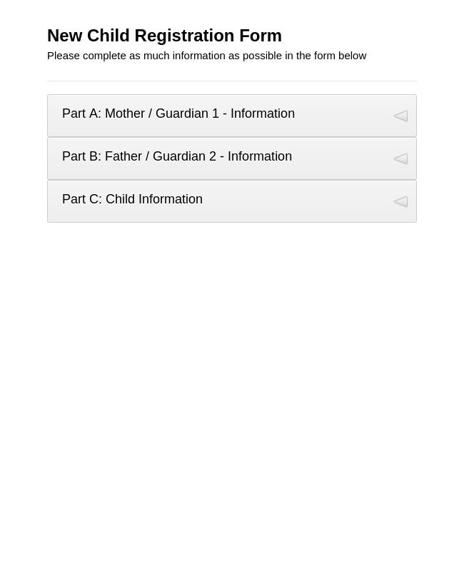New Child Registration Form