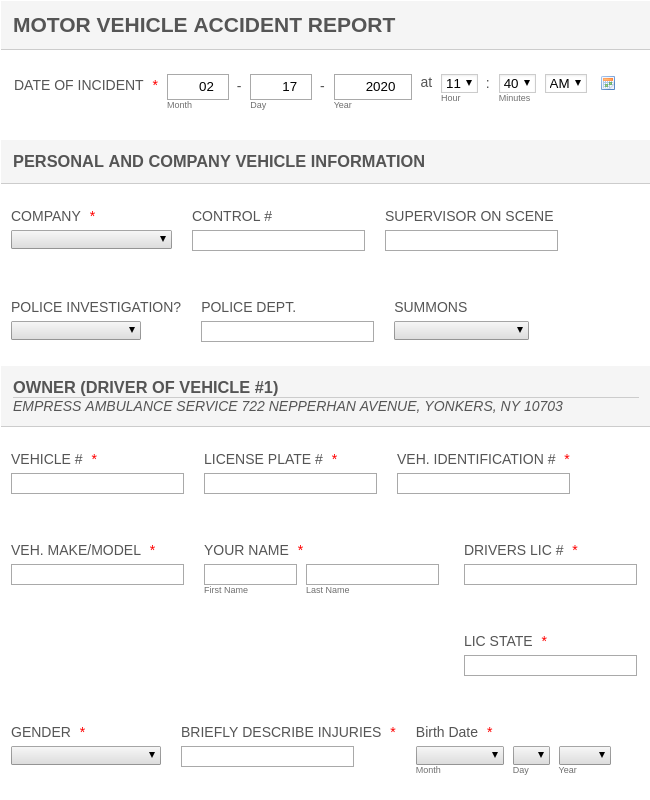 MOTOR VEHICLE ACCIDENT REPORT