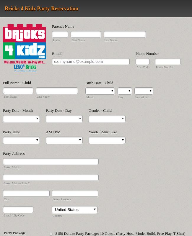 Bricks 4 Kidz Party Reservation